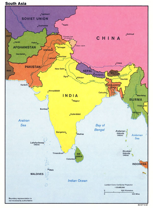 Large detailed political map of South Asia with major cities and capitals - 1987.