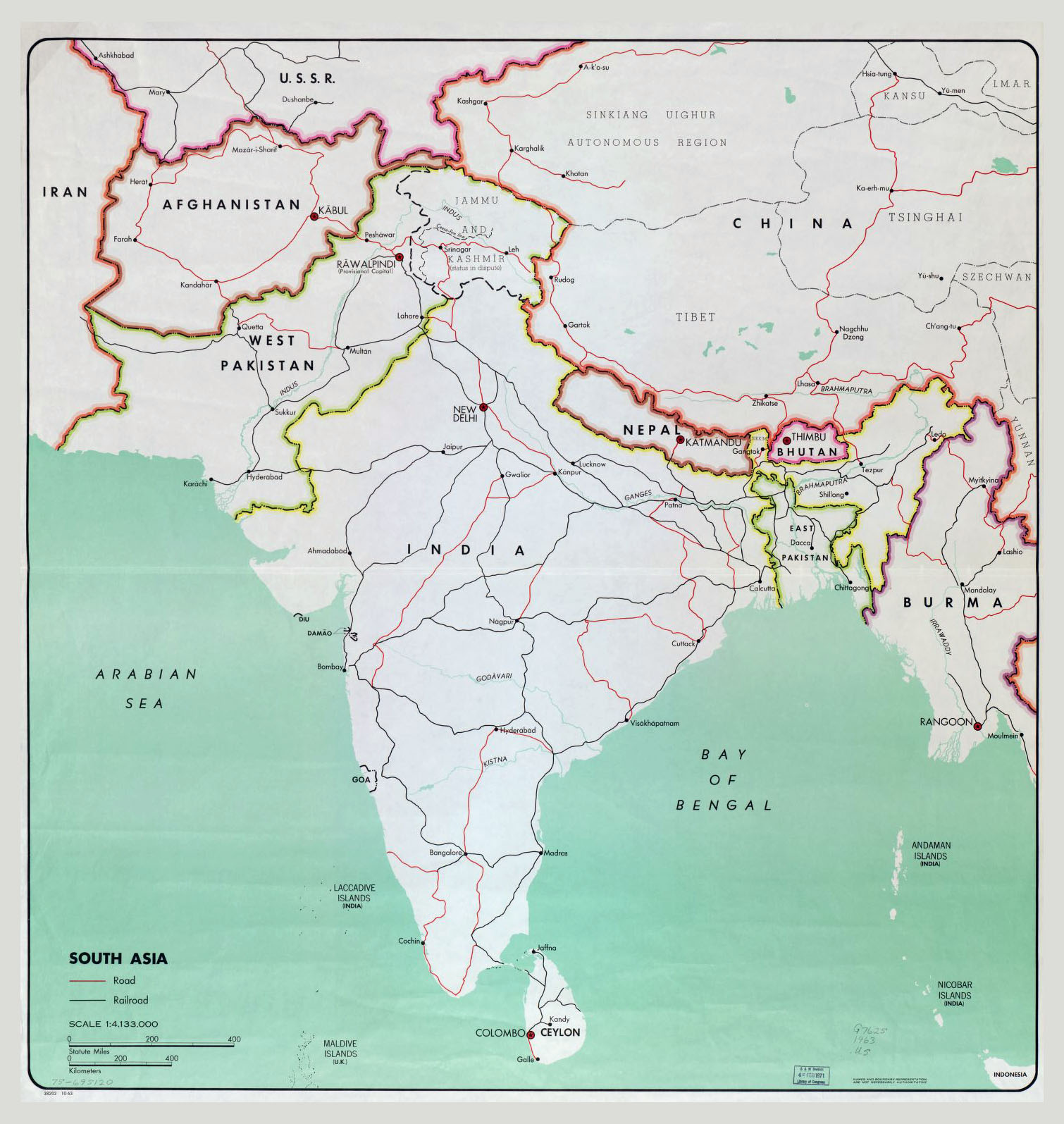 Large Map Of South Asia With Major Cities Roads And Railroads - South asia map