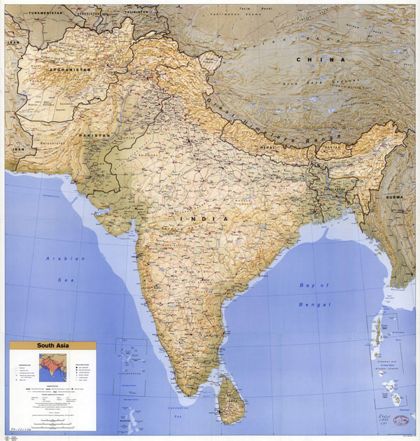 Large scale political map of South Asia with relief, roads, railroads, cities, airports and seaports - 1993.