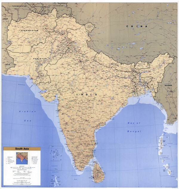 Large scale political map of South Asia with roads, railroads, cities, airports and seaports - 1993.