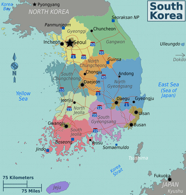 Detailed administrative map of South Korea.