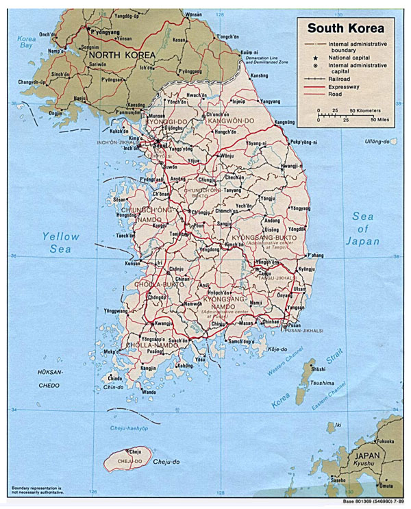 Detailed political map of South Korea. South Korea detailed political map.