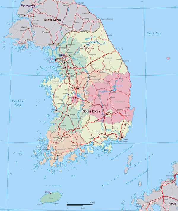 Large administrative map of South Korea. South Korea large administrative map.