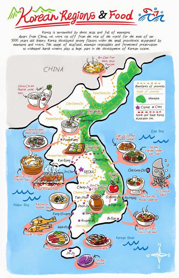 Large detailed Korean Food Regions illustrated map.