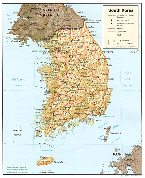 Large detailed relief and administrative map of South Korea.