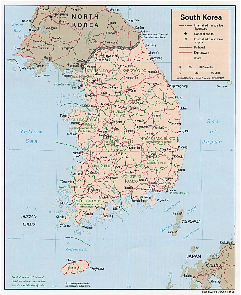 Large detailed road and administrative map of South Korea South