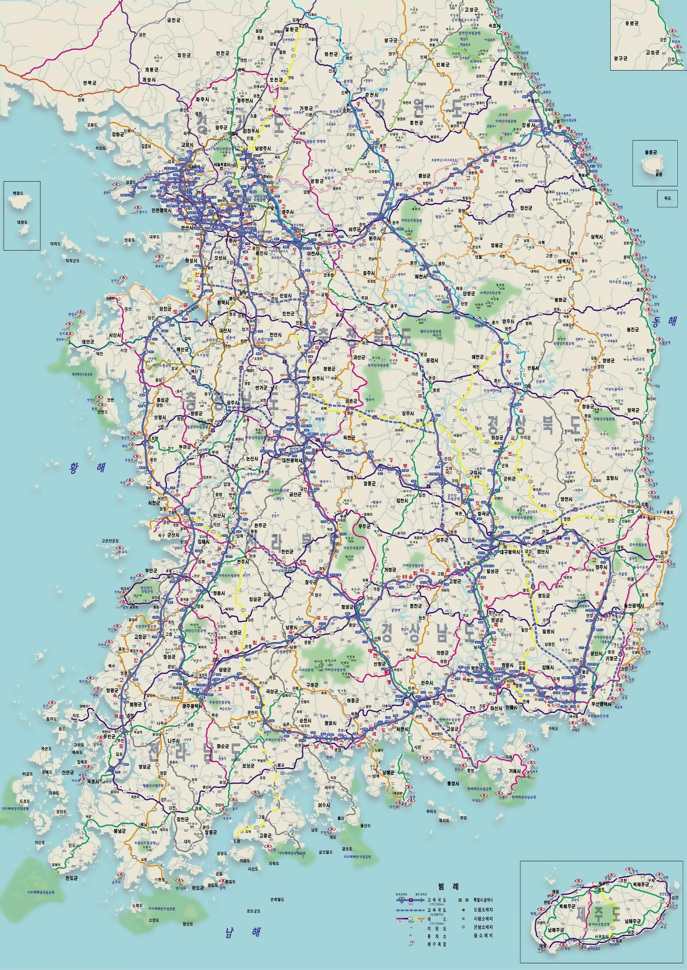 Large detailed road map of South Korea South Korea large detailed