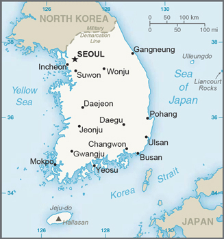Small map of South Korea. South Korea small map.