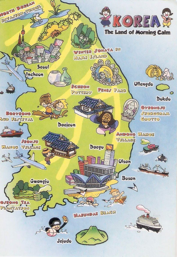 Tourist illustrated map of South Korea. South Korea tourist illustrated map.