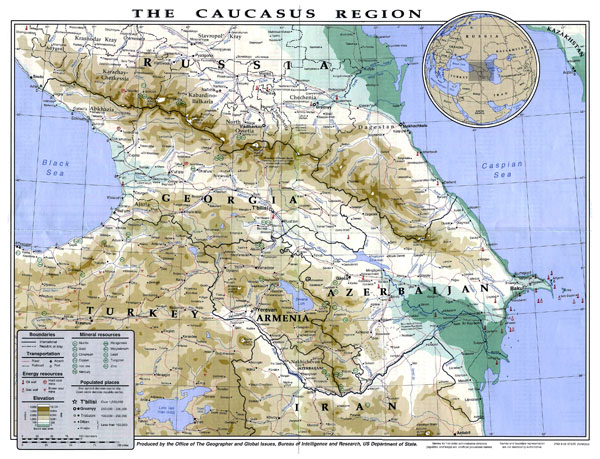 Detailed physical map of Caucasus Region. Caucasus Region detailed physical map.