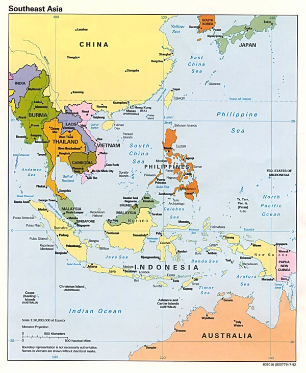 Detailed political map of Southeast Asia - 1992.