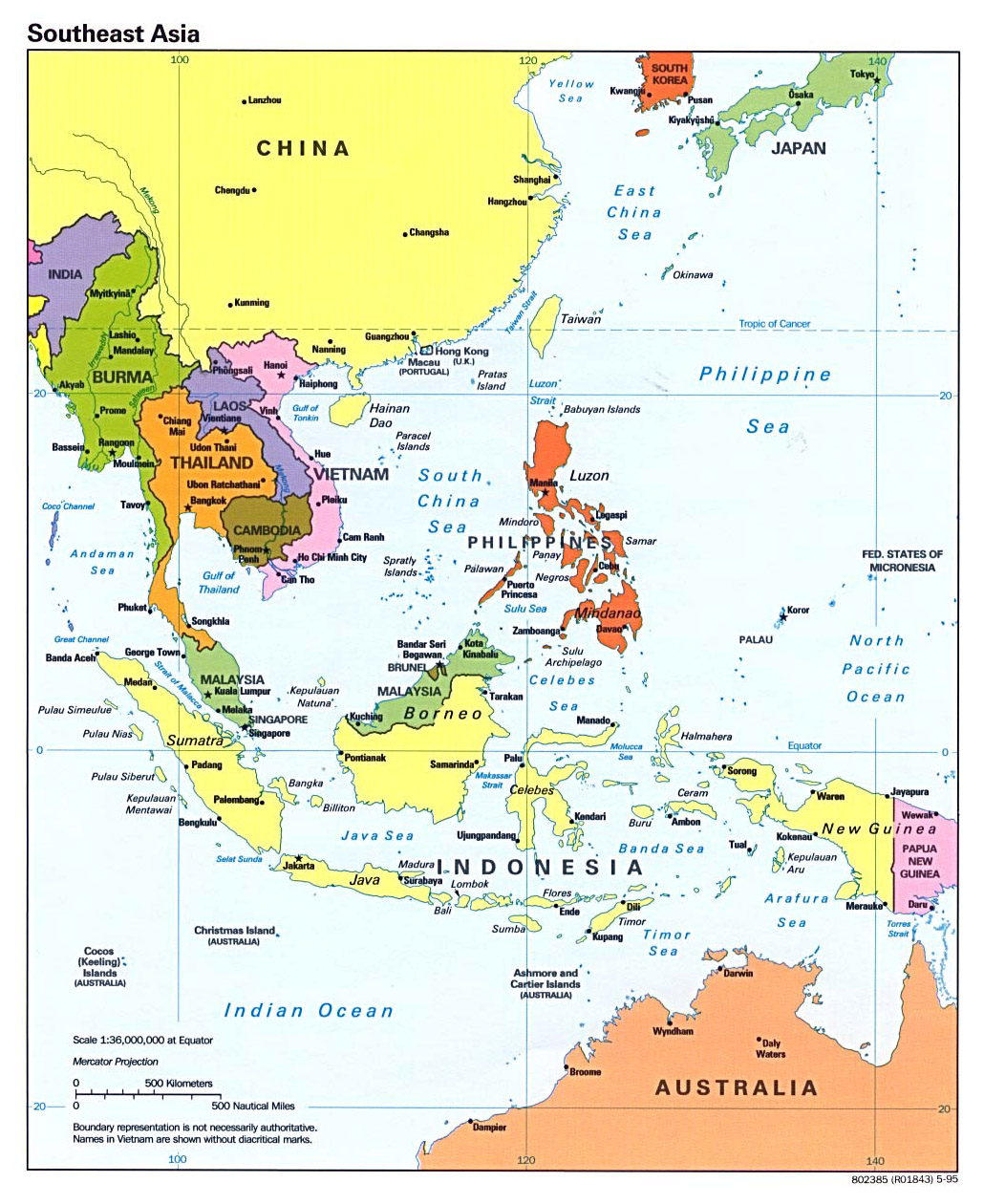 detailed political map of southeast asia with capitals and major cities 1995