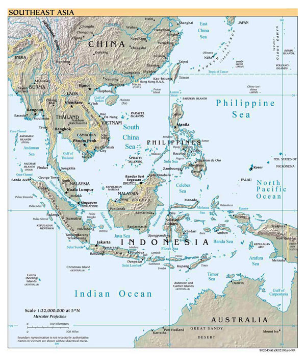 Detailed political map of Southeast Asia with relief - 1999.