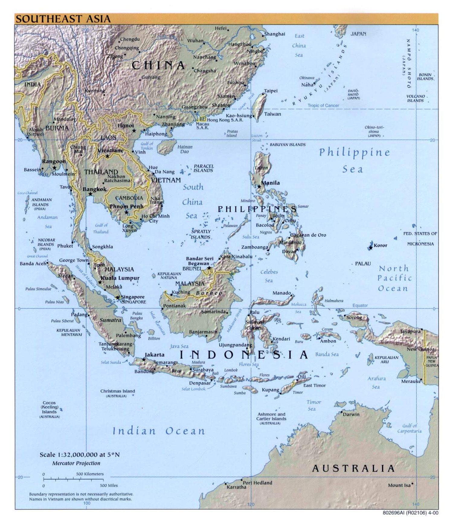 large detailed political map of southeast asia with relief 2000