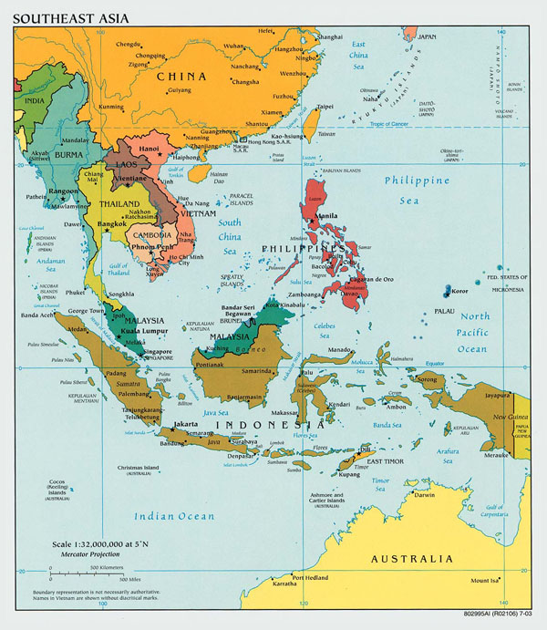 Large political map of Southeast Asia with capitals - 2003.