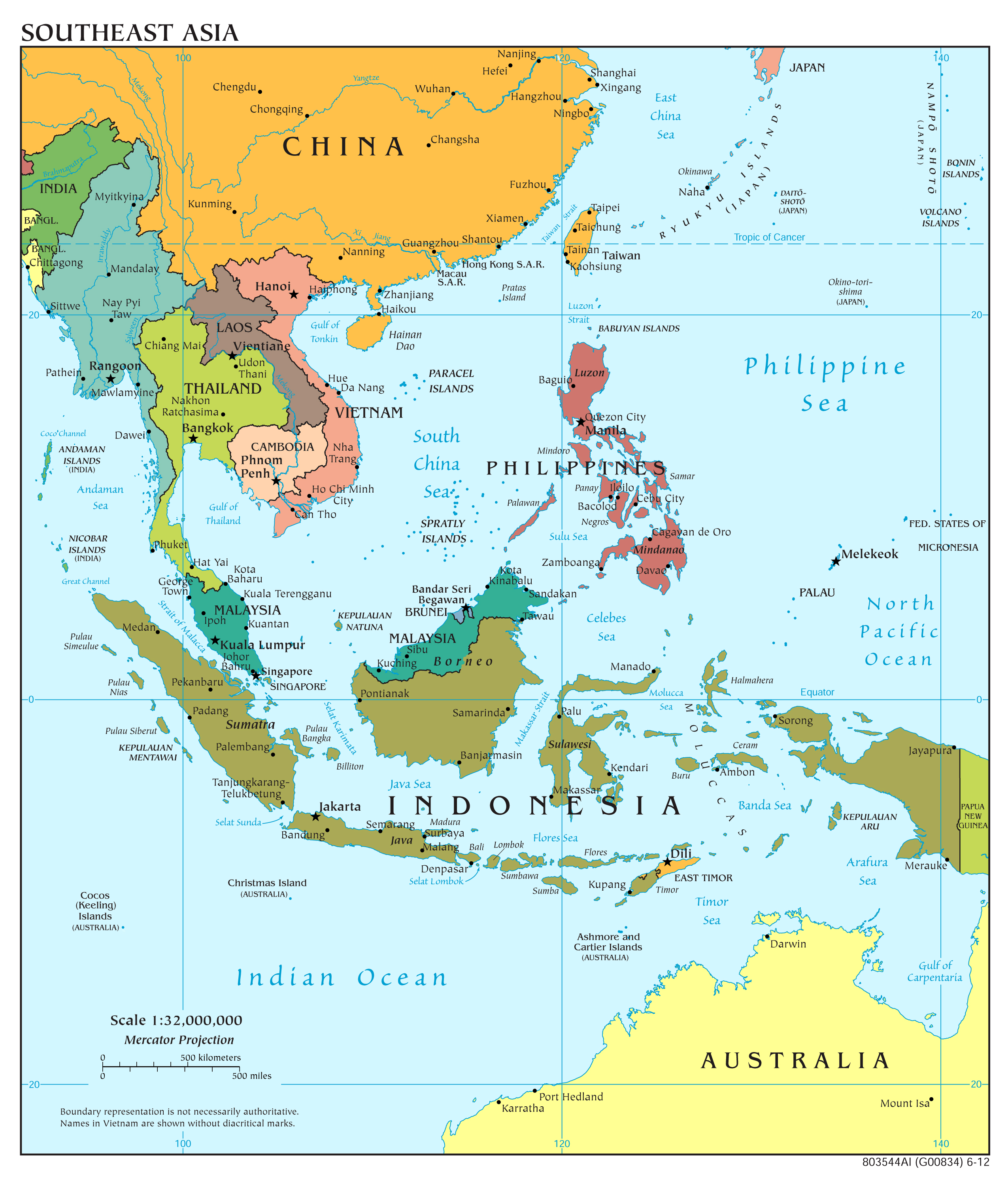 southeast asia and oceania political map Large Scale Political Map Of Southeast Asia 2012 Vidiani Com