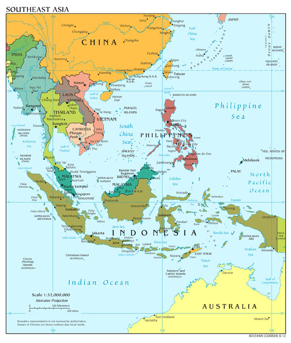 Large scale political map of Southeast Asia - 2012.