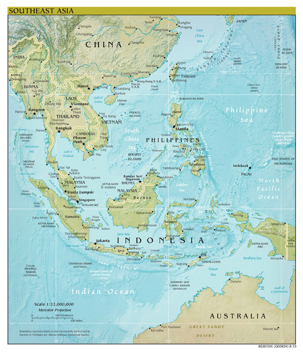 Large scale political map of Southeast Asia with relief, capitals and major cities - 2013.