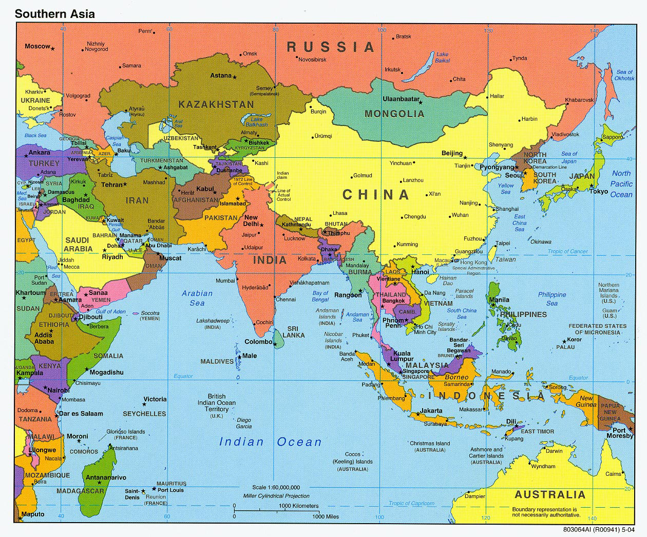 Map Of Asia With Countries And Capitals Detailed political map of Southern Asia with capitals and major
