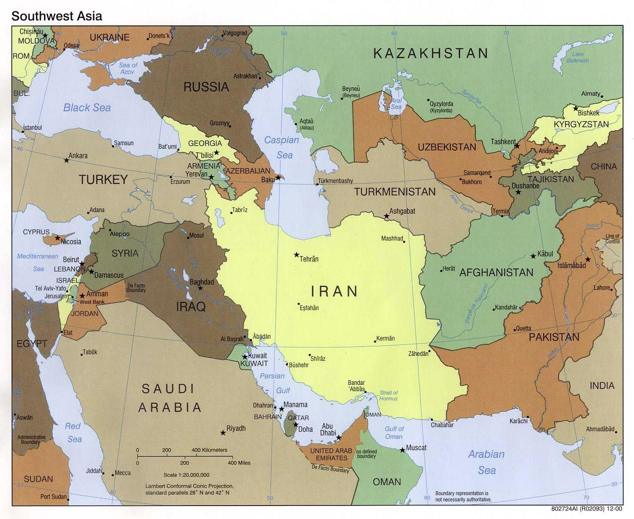 Large political map of Southwest Asia – 2000 | Vidiani.com | Maps of ...