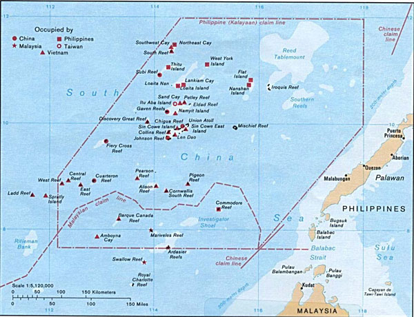 Detailed map of Spratly Islands. Spratly Islands detailed map.