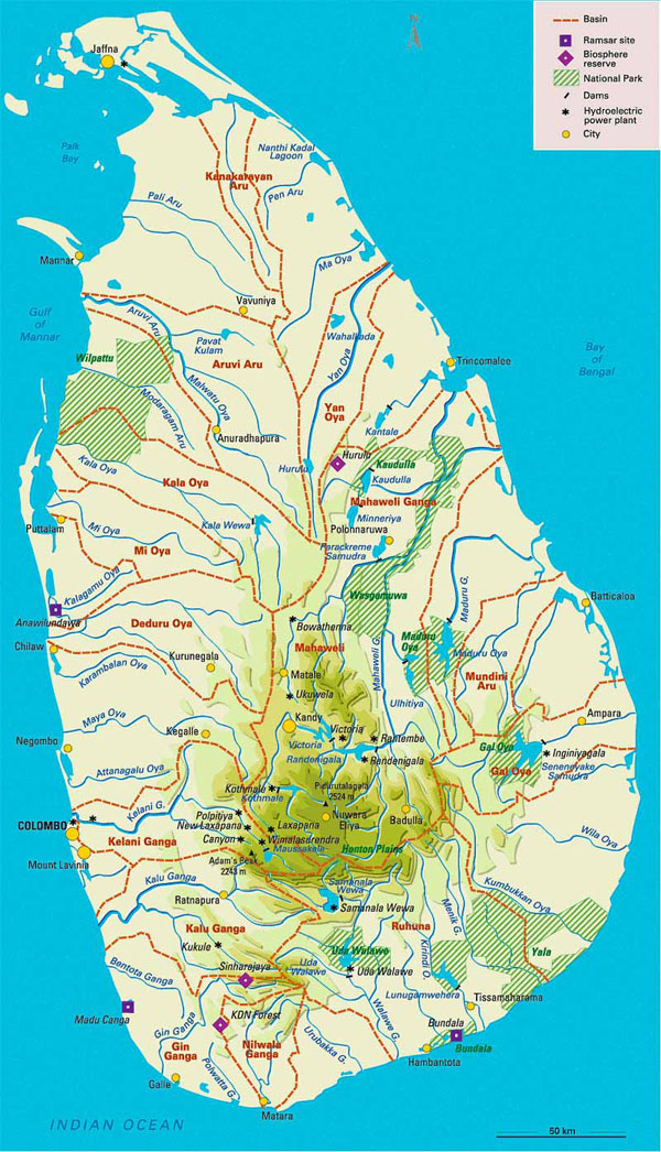 Administrative and physical map of Sri Lanka.