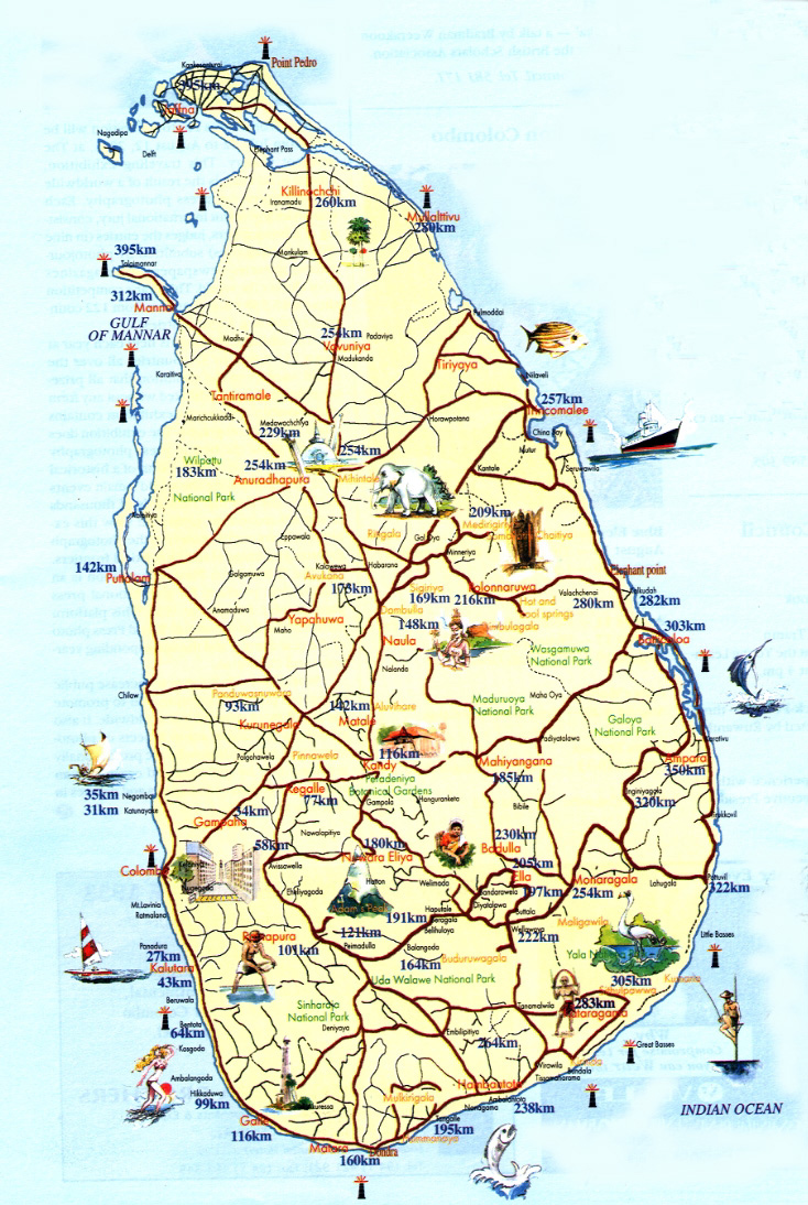 Detailed tourist map of Sri Lanka. Sri Lanka detailed tourist map.