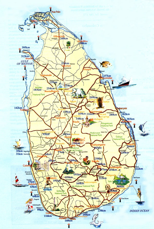 Detailed tourist map of Sri Lanka. Sri Lanka detailed tourist map.