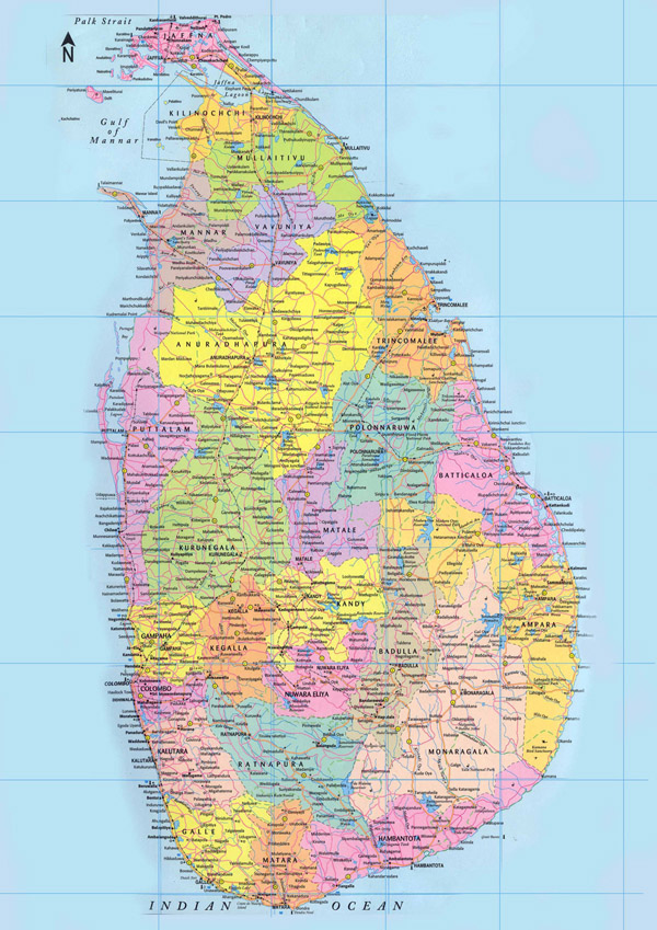 Large detailed administrative map of Sri Lanka.