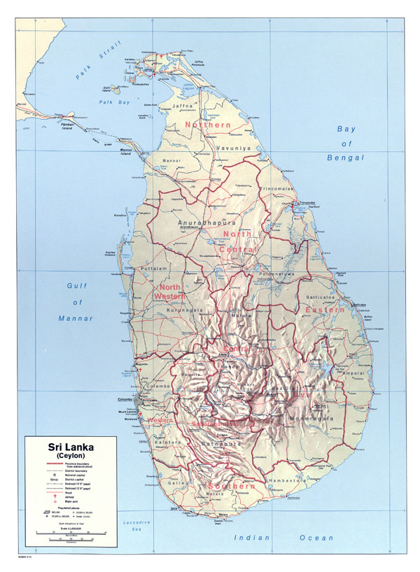 Large detailed political and administrative map of Sri Lanka with roads, railroads, cities, airports and sea ports.