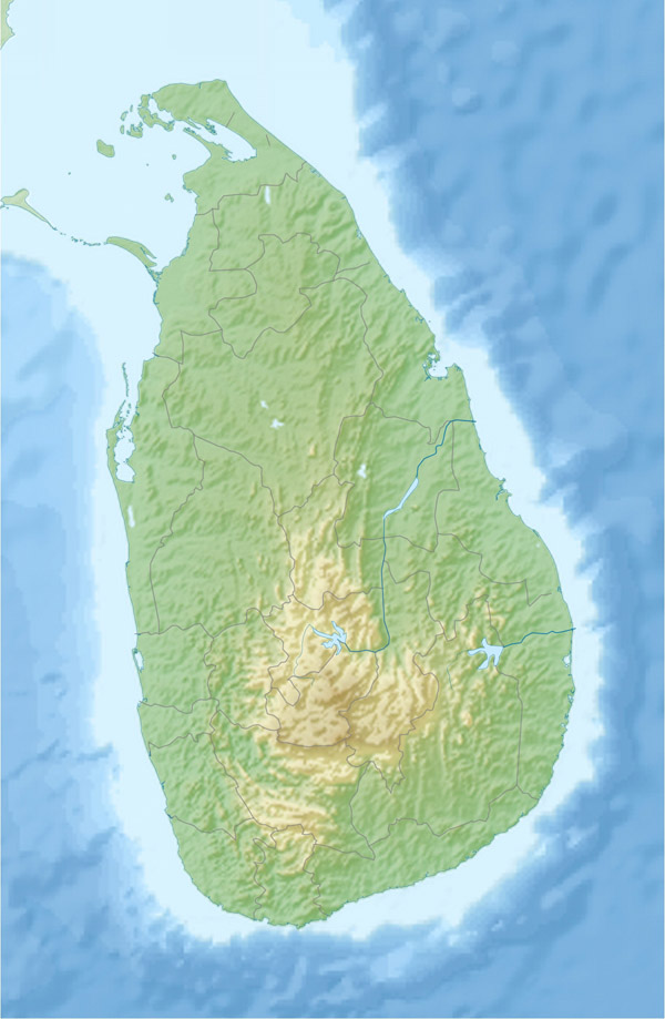 Large detailed relief map of Sri Lanka. Sri Lanka large detailed relief map.