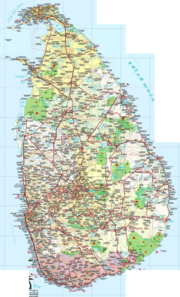 Large detailed road and tourist map of Sri Lanka.