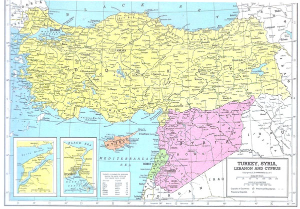 Detailed political map of Syria and Turkey. Syria and Turkey detailed political map.
