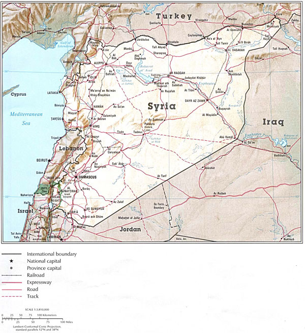 Detailed relief and administrative map of Syria.
