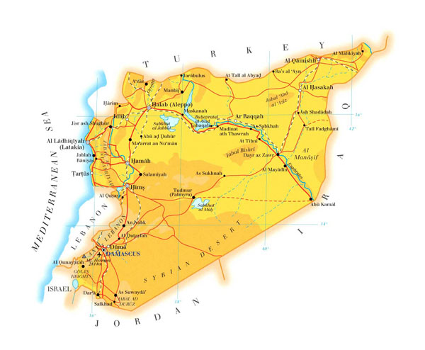 Detailed road map of Syria. Syria detailed road map.