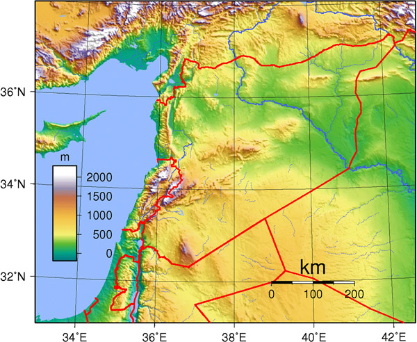 Detailed topography map of Syria. Syria detailed topography map.