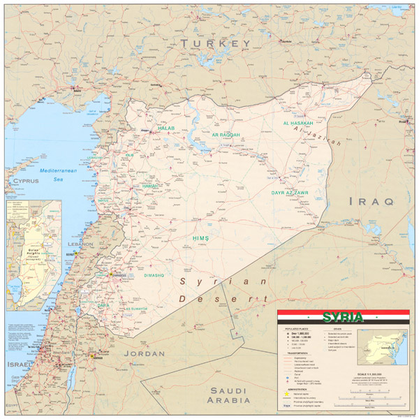 Large detailed road and political map of Syria.