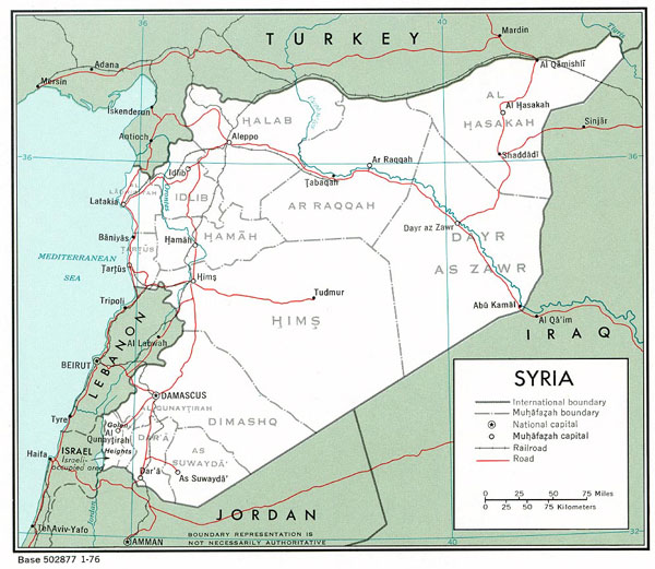 Road and political map of Syria. Syria road and political map.
