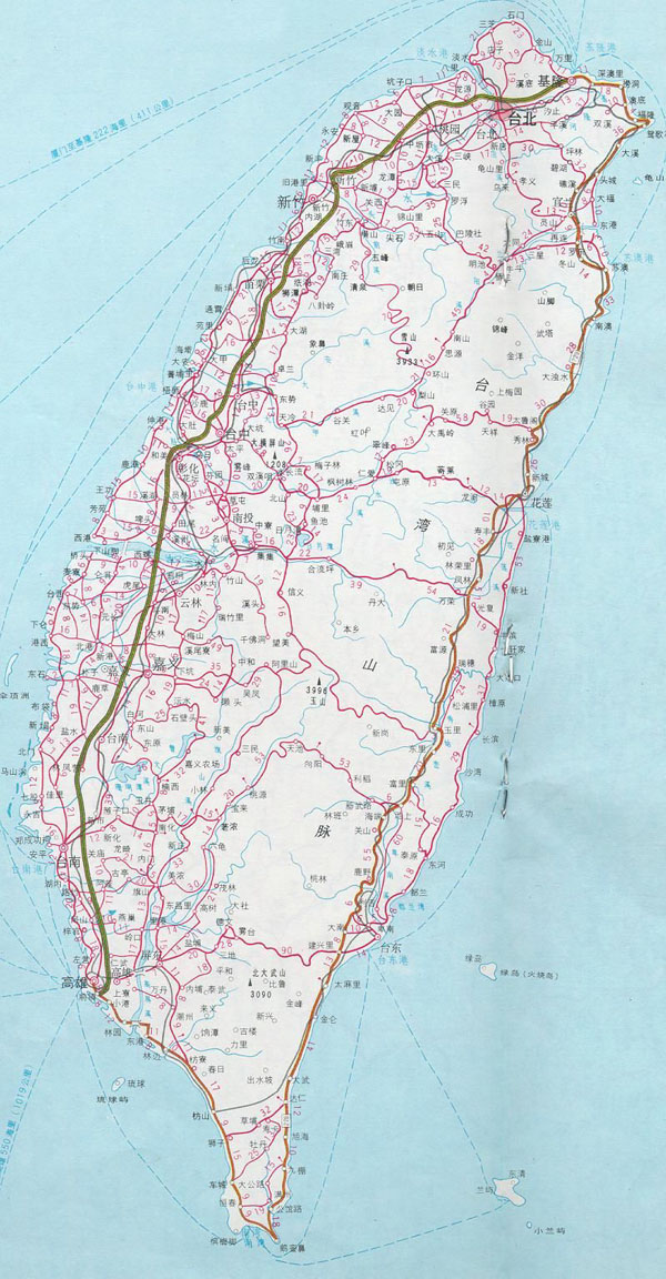Detailed map of Taiwan. Taiwan detailed map.