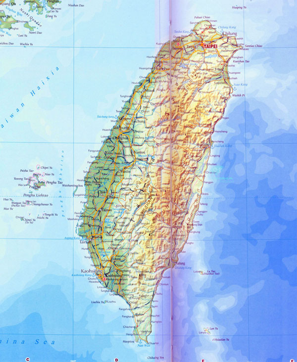 Large detailed road and topographical map of Taiwan.