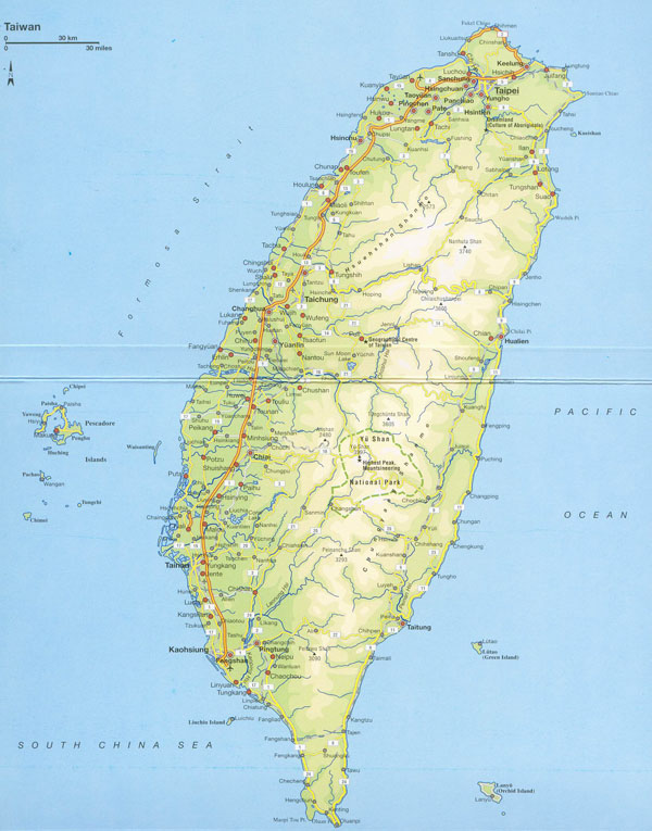Large detailed road map of Taiwan. Taiwan large detailed road map.