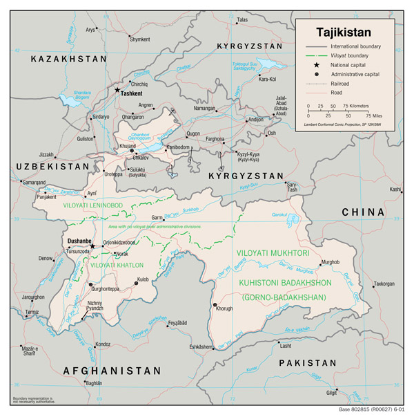 Detailed administrative map of Tajikistan. Tajikistan detailed administrative map.