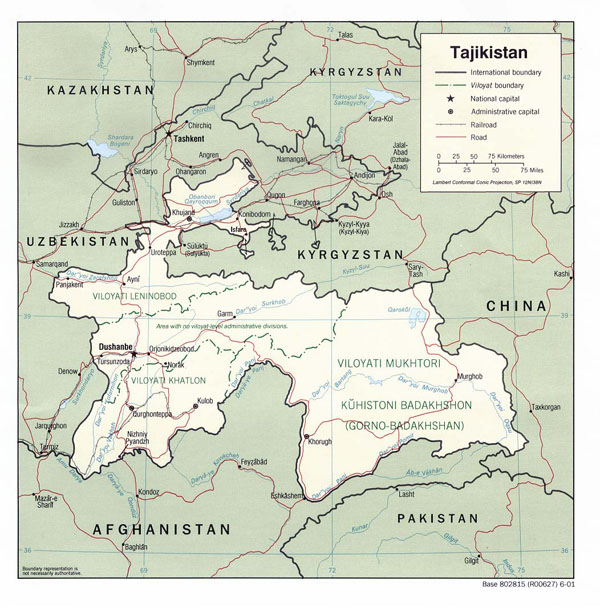Detailed political and administrative map of Tajikistan.