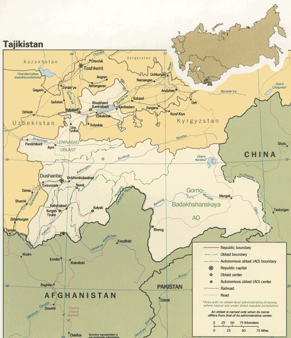 Large detailed political map of Tajikistan.