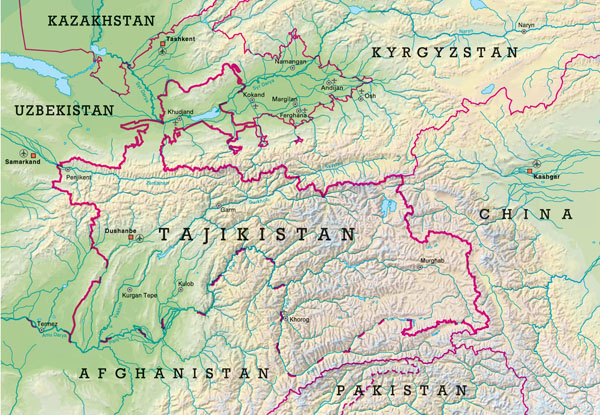 Large detailed relief map of Tajikistan. Tajikistan large detailed relief map.
