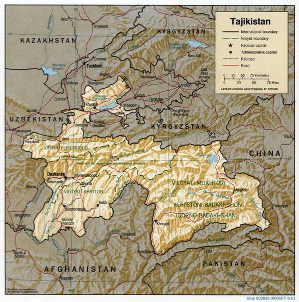 Large relief and political map of Tajikistan.