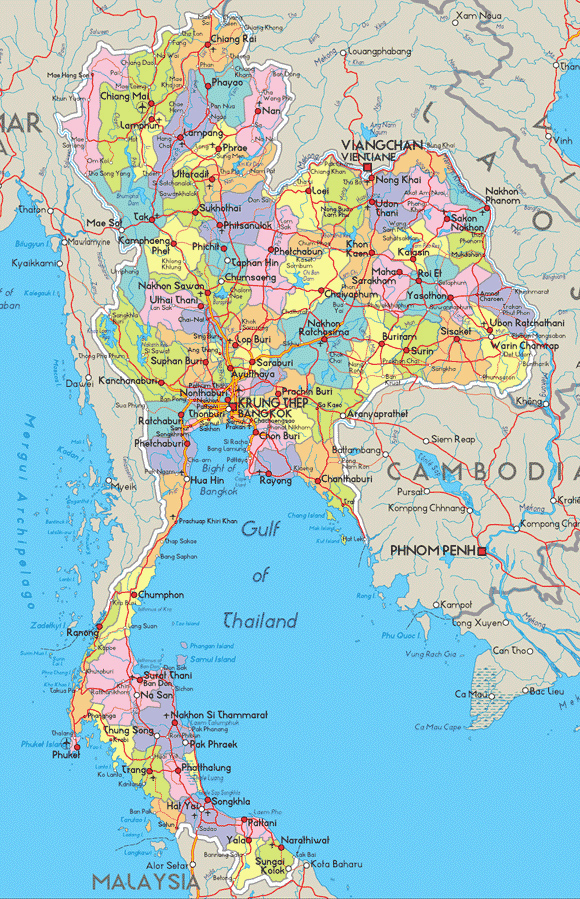 And road map of thailand thailand administrative and road map