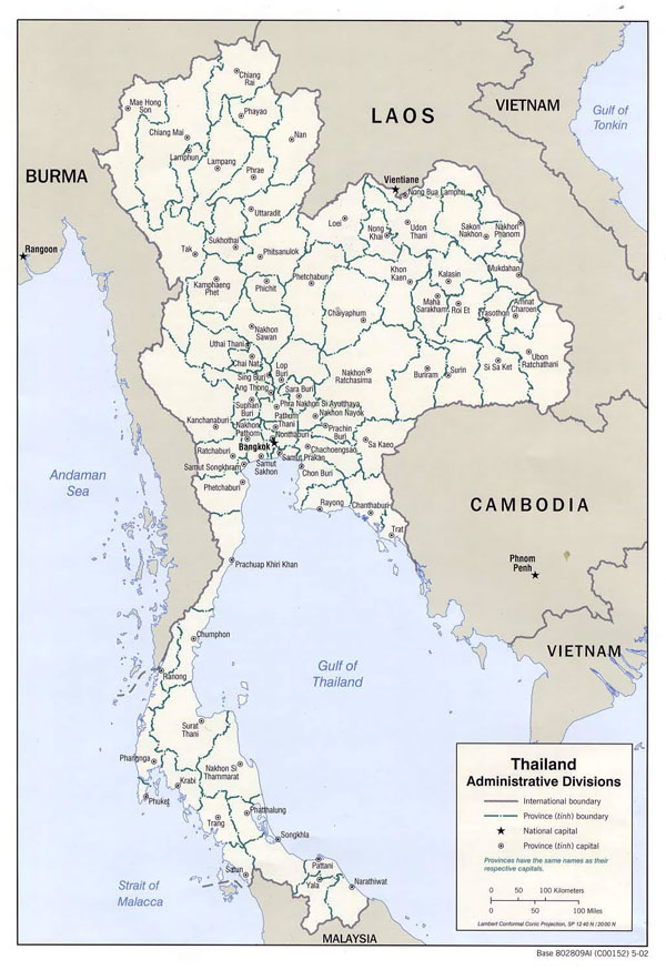 Administrative divisions map of Thailand - 2002.