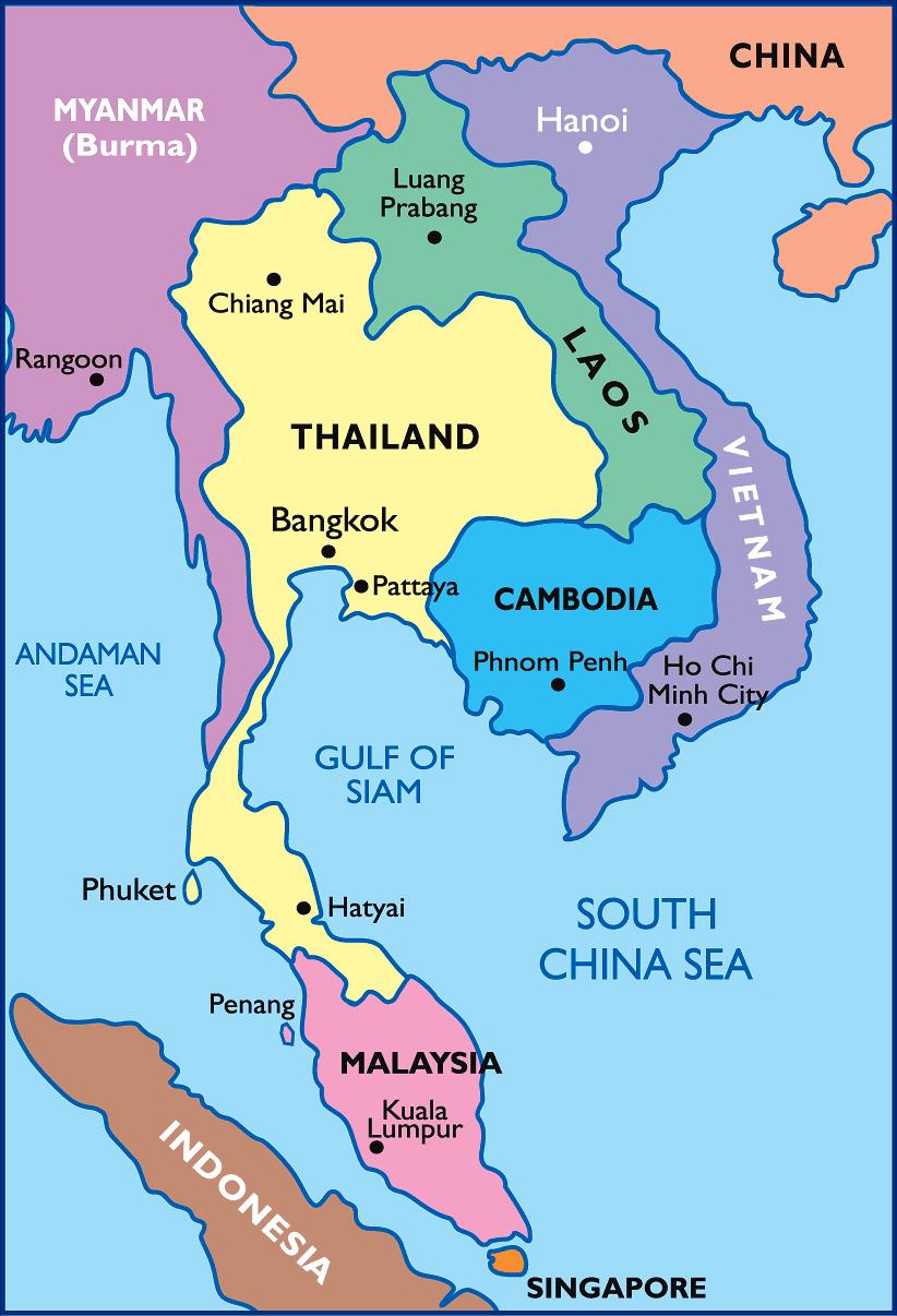 Detailed Political Map Of Thailand Thailand Detailed Political Map