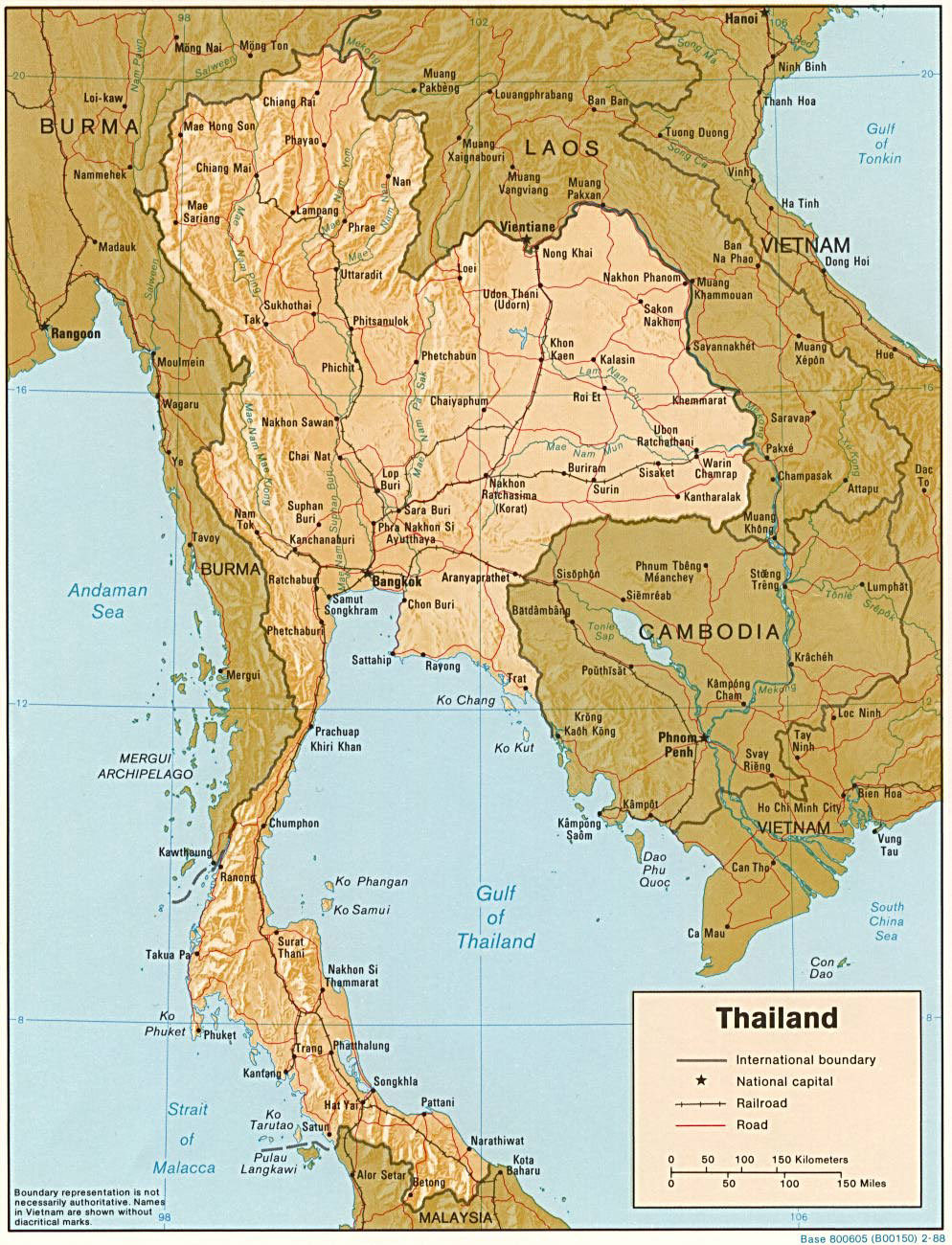 Detailed relief and political map of Thailand. Thailand ...